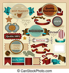 Collection of retro labels genuine - Set of vector labels...