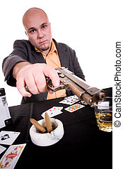 man with gun - danger man with gun over white background