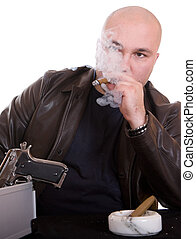 man with cigar - danger man smoking cigar over white...