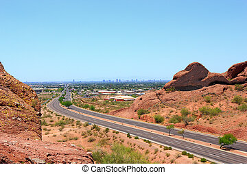 Driving to Phoenix Downtown, AZ - McDowell Road to downtown...