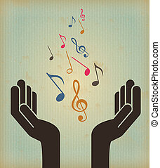 music design over vintage background vector illustration