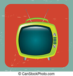 classic television over red background vector illustration