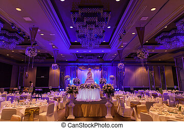 Banquet wedding - Banquet and wedding cake table was set...