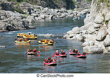 River Rafting - water rafting on the rapids of river Yosino...