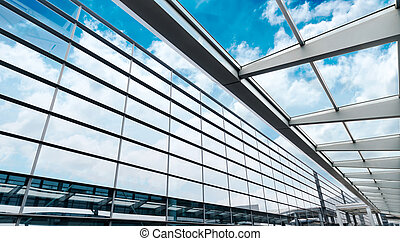 glass wall with open windows - background