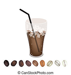 Row of Beans Under A Glass of Iced Coffee - Coffee Time, A...