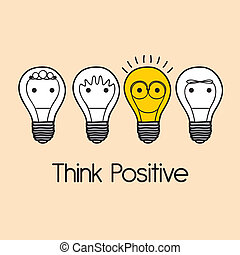 think positive - think positive over pink background vector...