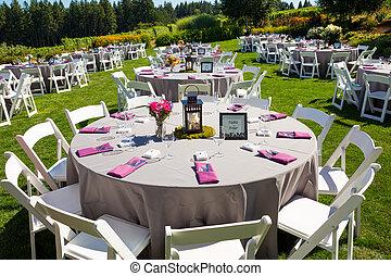 casório, recepção, tabela, detalhes