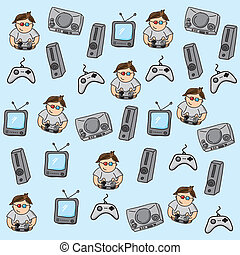 gamer pattern over blue background vector illustration