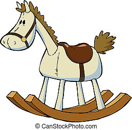 Toy horse - Toy rocking horse on a white background vector...