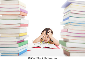 boring and tired little girl with many books