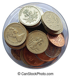 Pounds - British Pounds coins (currency of United Kingdom)