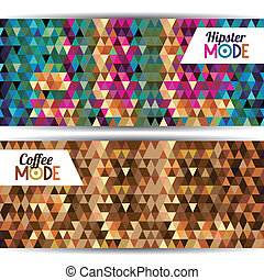 mode label over geometric background vector illustration