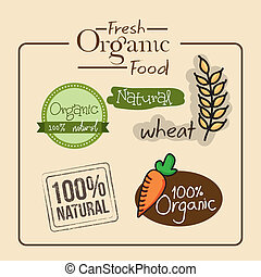 fresh organic food over cream bckground vector illustration