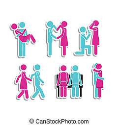 couple icons over white background vector illustration