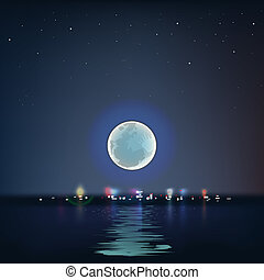 Full blue moon over cold night water, vector Eps10...