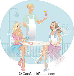 Two woman in coffee house - Vector illustration of Two woman...