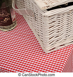 Picknick - Garden table with a red table cloth