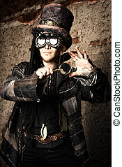 extraordinary - Portrait of a steampunk man in the ruins