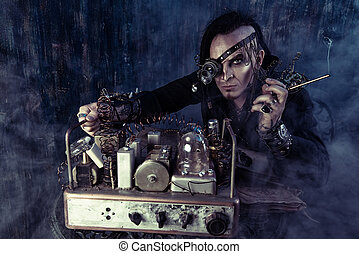 mystery of invention - Portrait of a steampunk man over...