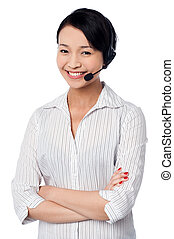 Cute female call centre executive - Confident female call...