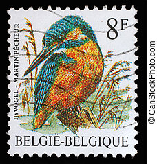 BELGIUM - CIRCA 2000: A stamp printed in Belgium shows bird,...