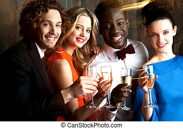 Group of friends at the bar, cheers to all - Group of...