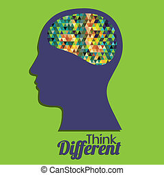 think different design over green bakground vector...