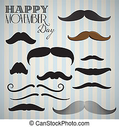 Retro Vintage mustache set for happy movember day - Retro...