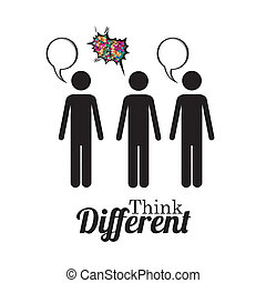 think different - think diferent over white background...