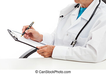 Doctor taking notes in his office, isolated