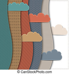 Textured paper banners with clouds Vector background