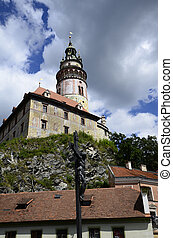 Chech Republic - Krumlov, Czechia, little castle and tower...