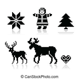 Christmas nordic pattern icons