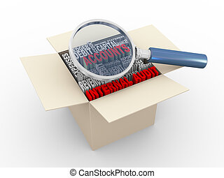 3d magnifier and internal audit wordcloud box - 3d...