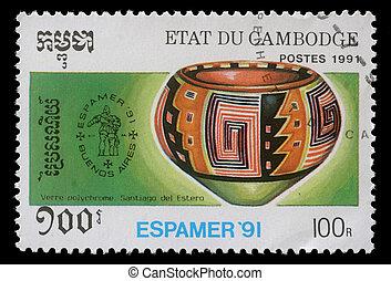 cambodge, -, environ, 1991:, timbre, imprimé,...