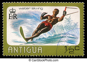 ANTIGUA - CIRCA 1976: A stamp printed in Antigua shows water...