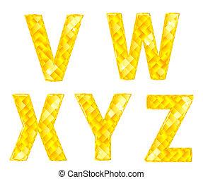 Diamond letters V, W, X, Y, Z