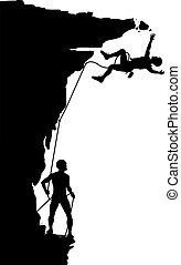 Climber fall - Editable vector silhouette of a climber...