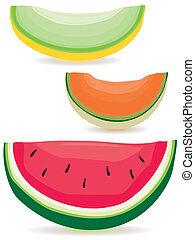 Melon slice variety - A selection of honeydew, cantaloupe...