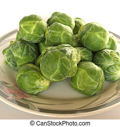 Brussel sprouts mini cabbages isolated