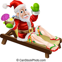 Summer Christmas Santa - Santa Claus on a hot Christmas...
