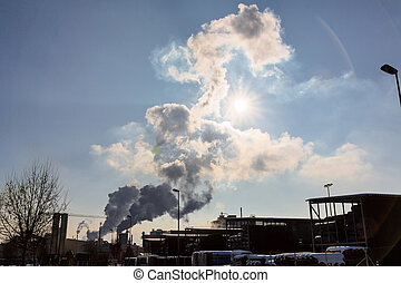 industry chimney with exhaust gases - an industrial plant...