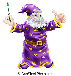 Cartoon Wizard with Wand - A cartoon wizard or sorcerer...