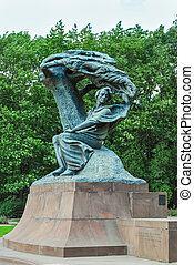 monument of Chopin. Warsaw, Poland. - monument of Chopin in...