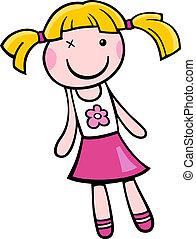 boneca, clip, arte, caricatura, Ilustração