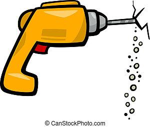 drill clip art cartoon illustration - Cartoon Illustration...