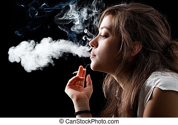 Smoking Woman - Woman Smoking a Cigarette on Black...