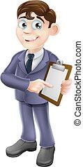 Businessman holding survey or clipb - A cartoon illustration...