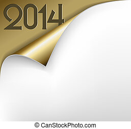 Vector Christmas New Year Card - Sheet of golden paper 2014...